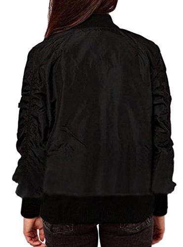Minetom Donna Casual Maniche Lunghe Giacca Trapuntato Motociclista Giacche Magliette Cappotto Corto Nero