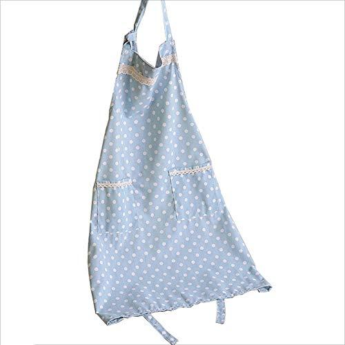 Grembiuli grembiule bavaglino cucina grembiuli chef per cucinare cottura giardinaggio regolabile con 2 tasche cintura cotone e lino regolabili haiming (colore : blue-big dots)