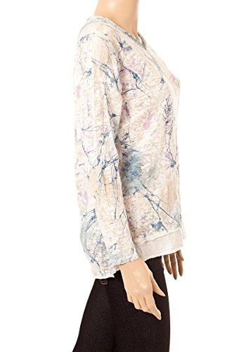 Tendance Style Langarmshirt Langarmshirt Vintage Look Batik Muster Pailletten & Tuch Weiß