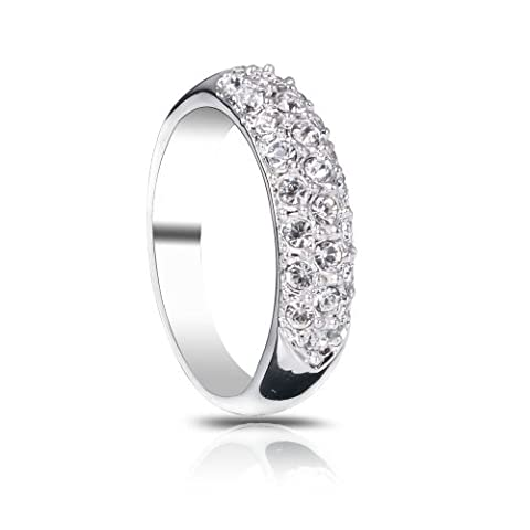 FAIRY COUPLE Women Silver Color Pave 3 Rows Cubic Zirconia Dome Ring R51 L