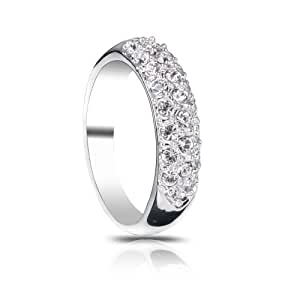 FASHION PLAZA Women Silver Color Pave 3 Rows Cubic Zirconia Dome Ring R51
