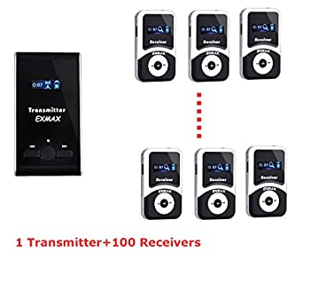 Exmax Atg-100t 72mhz-76mhz Professional Transmitter For Wireless Tour Guide Systemmonitoring System,wireless Tour Guide System For Teaching, Tour Guides, Conference (1 Transmitter 100 Receivers) 0