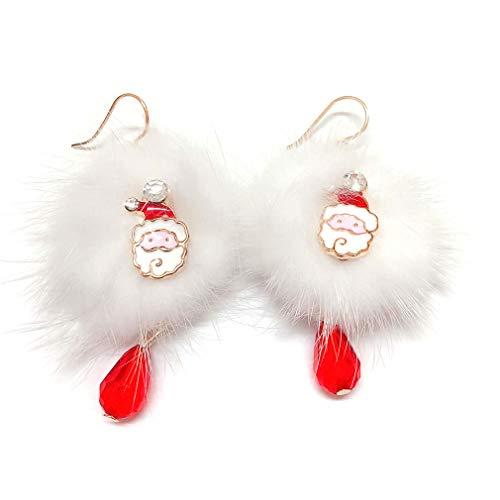 Pinhan Ohrringe mit süßem Weihnachtsbommel, roter Kristall, Party, Hochzeit, Modeschmuck, Geschenk für Mädchen und Frauen, Legierung, Santa Claus, 5.5cm