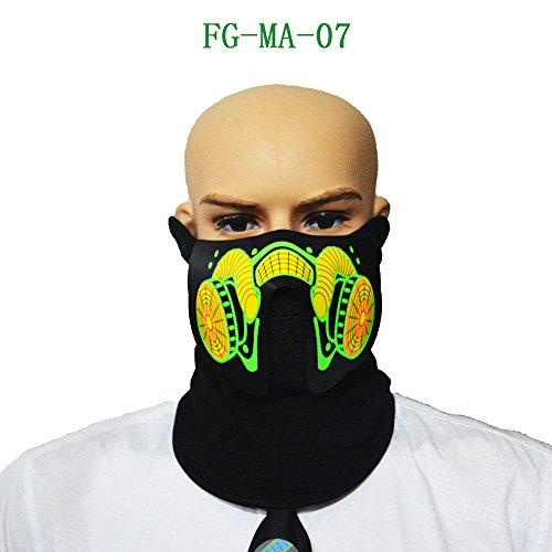 axusndas LED-Kostüm Maske Sound aktiviert, Cosplay Leuchten Party Cyber   Rave-Maske für Halloween Club Festivals Geburtstagsfeiern Flashing Sound reaktive Balaclava Schild Maske