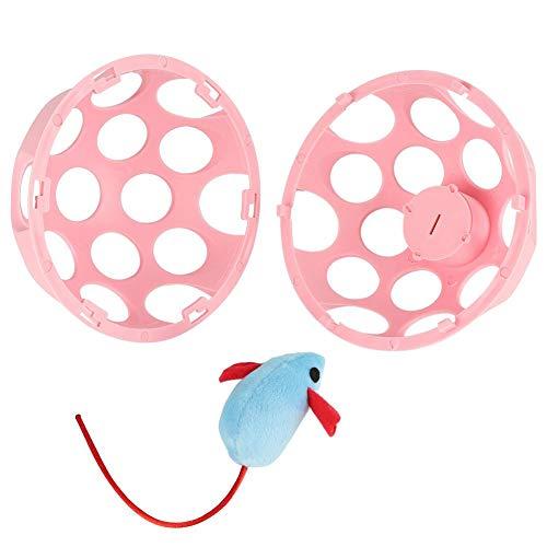 HEEPDD Katzenspielzeug, Hohle runde Kugel Kunststoff interessante Geräusche Bälle mit Maus Spielzeug sicher für Ihre Katze Kitty(Blau) -