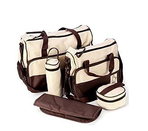 Daorier Backpacks Women's Handbags Multifunction Large Capacity Back pack Kit bébé Travel Bag cinq pièces Set 5 kits Sac / Sachet / Poche Maternelle Bebe Pour voiture panier d'achat bouteille coussinet nourriture nid d'abeille Marron