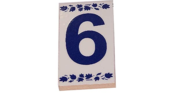 Asfour Outlet Trademark Numeral One painted tile from Jerusalem 3x1.5 Inches