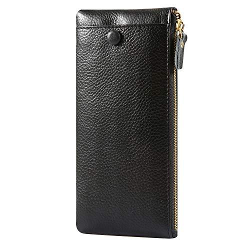 Frauen Leder Lange Brieftasche Frauen Große Kapazität Reißverschluss Geldbörse Kreditkarteninhaber Damen Clutch Halter Fall Taste Clutch Handtasche Tasche (Schwarz) (Taste Halter)