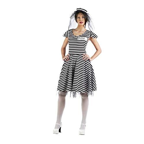 Kostüm Sträflingsbraut Gr. M Braut Beute Kleid Hut schwarz-weiß Junggesellinnenabschied