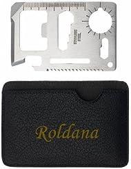 Herramienta multifunción de bolsillo con estuche con nombre grabado: Roldana (nombre de pila/apellido/apodo)