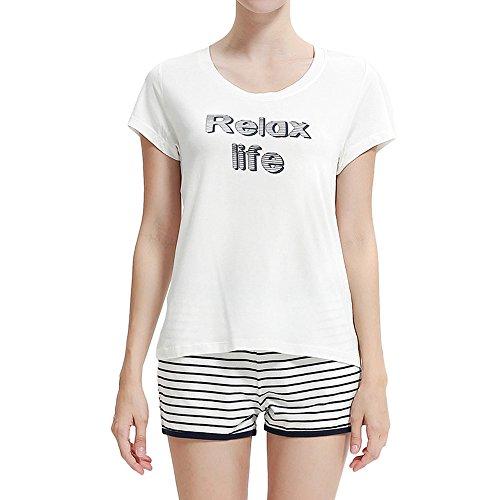 Schlafanzug Damen pyjama tshirt & kurz hose - Suntasty 028 kurzer nachtwäsche zweiteiliger Anzug Tops & Shorts ideal als Homewear oder Loungewear(White,M) (Baby-jungen-pyjama Loungewear)