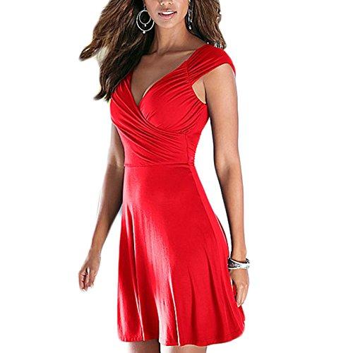 Frauen Mode V-Ausschnitt Kurzarm Einfarbig Mädchen A-linie Elegant Kleid Minikleid BallkleidPartykleider Beachwear Strandkleider Maxikleid Rot