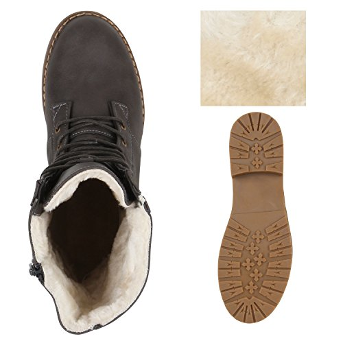 Warm Gefütterte Damen Schnürstiefeletten Schnallen Stiefelette Profilsohle Grau
