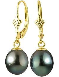 Pearls & Colors - Boucles d'oreilles pendantes - Or jaune 9 cts - Perle de culture de Tahiti - PC-9BOT09