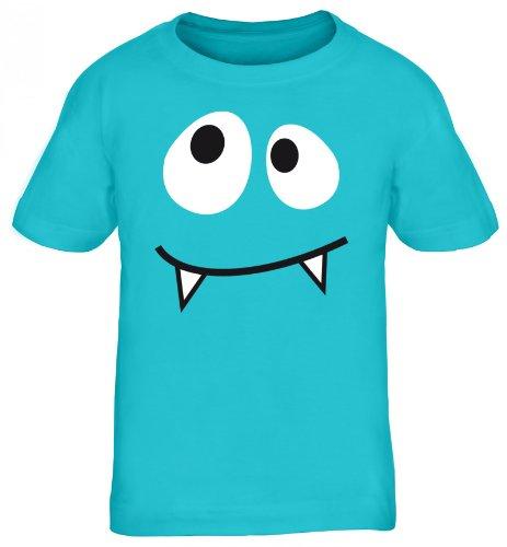 Shirtstreet24, MONSTER VAMPIRE, Fasching Karneval Kostüm Kids Kinder Fun T-Shirt Funshirt, Größe: 122/128,türkis