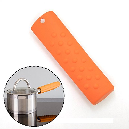 Atekuker Hot Handle Holder (Silicone),Pan Handle Cover, Heat Resistant PotHandle Grip Sleeve (Orange)