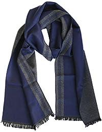 FERETI Écharpe Hommes Design Grec Bleu Bicolore Gris Fines Franges Très ... 9fdf1d03913