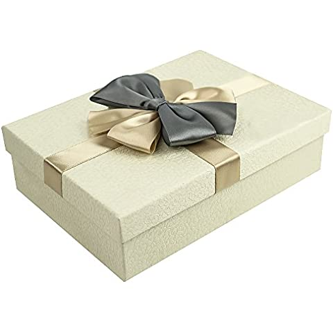 Natale Moda Exquisite Business scatole regalo con filamenti rettangolare Classic Business regalo scatola, Antique white,