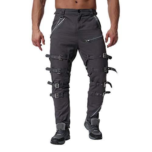 14757eb1e24134 Dragon868 Pantaloni Uomo Cotone Pantaloni Cargo con Cinturino Decolté Pantaloni  Larghi Dritto metà Vita Cosplay Partito