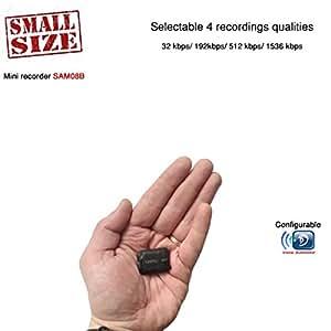 Mini Spia Registratore Vocale Digitale Professionale Suono HQ 1536 Kbps e Attivazione vocale   Piccole dimensioni e 24 ore batteria   8GB - 570 ore Modulo Configurabile Microspia Audio SAM08B