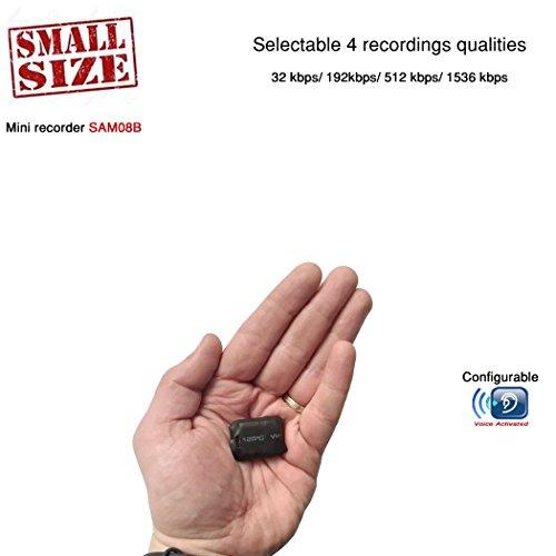 Pequeño Tamaño Modular Grabadora de Voz Espia Profesional Modular Activada por Voz | 24 horas de batería | Configurable 1536 Kbps - VOZ HQ | Capacidad de 8GB/ 570 horas | 8GB-SAM-08B