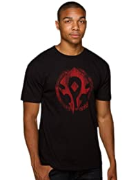 World of Warcraft - Horde shield vintage print on the front and Blizzard print on the back - Crew neck T shirt - Cotton - Black
