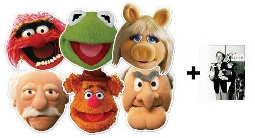 Kostüm Piggy Miss Kind - The Muppets card Karte Partei Gesichtsmasken (Maske) Packung von 6 (Kermit, Miss Piggy, Animal, Statler, Waldorf und Fozzie Bear)