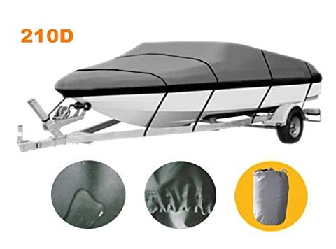 CO_CO Universal 210D Polyester Oxford Canvas Trailerable Boat Cover with Nylon Rope Fits V-Hull/Tri-Hull/Runabout/Fishing/SKI Boat ,Full Size Boat Cover, Waterproof ,Grey (23' 24' 116')