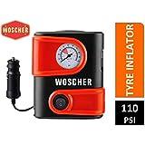 Woscher 1610 12V DC Portable Mini Tyre Inflator (Black)
