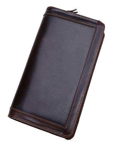 Kronen Soehne Echtes Leder Lange Brieftasche für Männer Organizer Scheckheft Kartenetui Doppelreißverschluss Handtasche KWA012 (Leder-scheckheft-organizer)