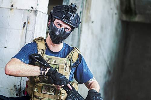 1T OneTigris Halb Gesichtsschutz Maske Fast Helm Einstellbare Maske für Softair Paintball CS (Schwarz)