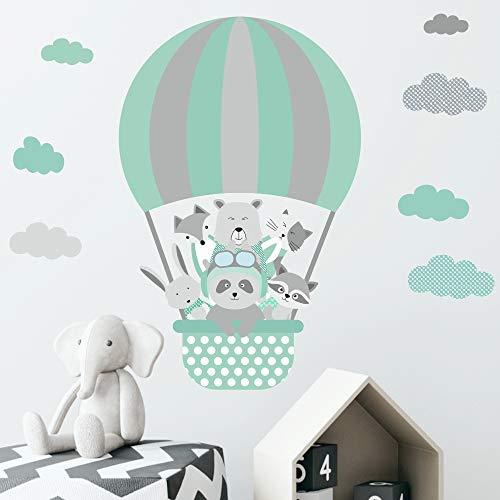 greenluup Öko Wandsticker Heißluftballon Tiere Sternen Wolken Baby Kinder Kinderzimmer Babyzimmer Mädchen Junge Jungen (w50)