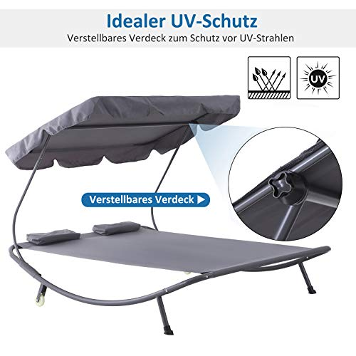 Outsunny Doppelliege Sonnenliege Relaxliege rollbar mit Dach Stahl Grau 200 x 173 x 155cm - 3