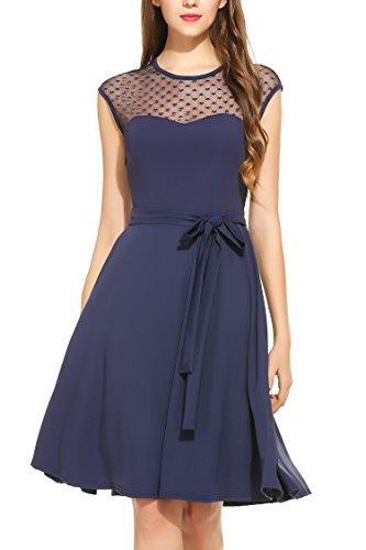 Zeagoo Elegant Damen Kleider Kurzarm Retro Vintage 50er Jahr Sewing Rockabilly Kleid Cocktailkleid Abendkleid Ballkleid