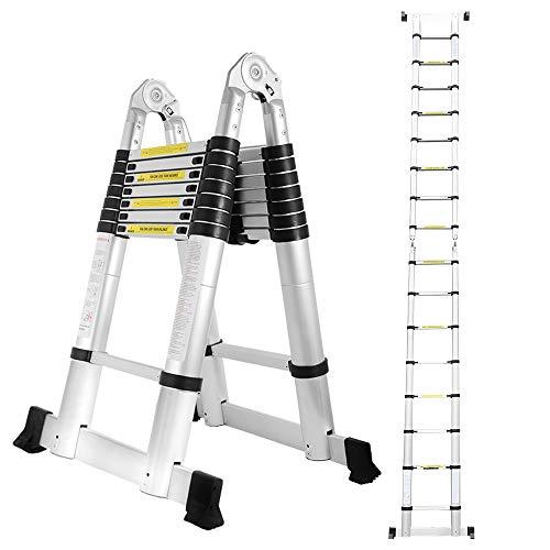 Hengda 5M Teleskopleiter, Ausziehbare Leiter Rutschfester, Aluminium Klappleiter Stehleiter, Ausziehleiter Mehrzweckleiter, 150 kg Belastbarkeit