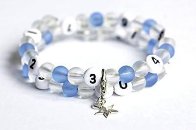 Bracelet d'allaitement de couleur transparent et bleu en verre givré