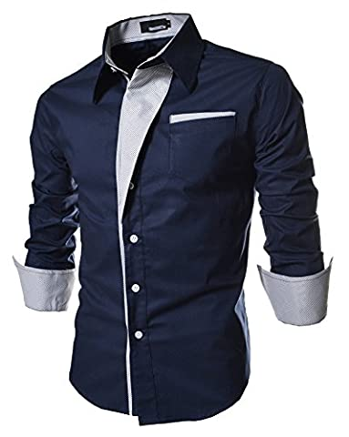 Navy Formal Business Casual Dress Shirts Button Down Fashion Shirt for Men Long Sleeve Regular Fit Solid Contrast Collar Size XXXL