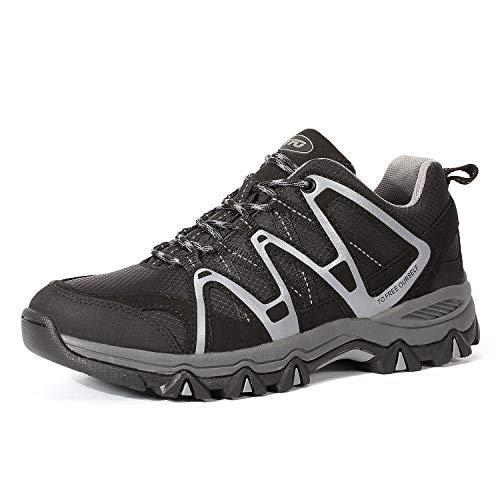 TFO Herren Trekkingschuhe & Wanderschuhe Leichte Outdoor Schuhe mit Atmungsaktive Sohle Schwarz/Grau, 46 EU Gtx Oxford