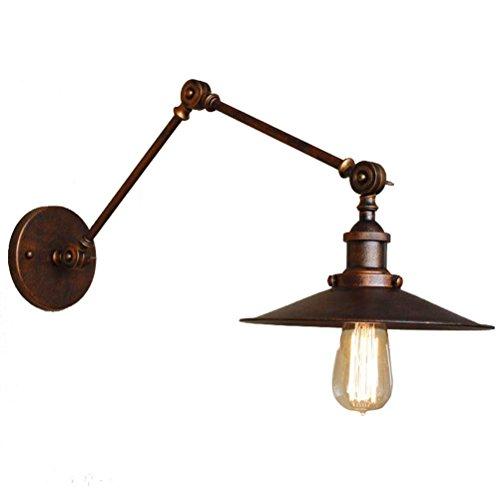 Lampada Da Parete Lungo Braccio Retrattile Retrò Lampada Da Comodino Lampada Ferro Vecchio Ferro Corona (Vecchio Bronzo 2 Lampadina)