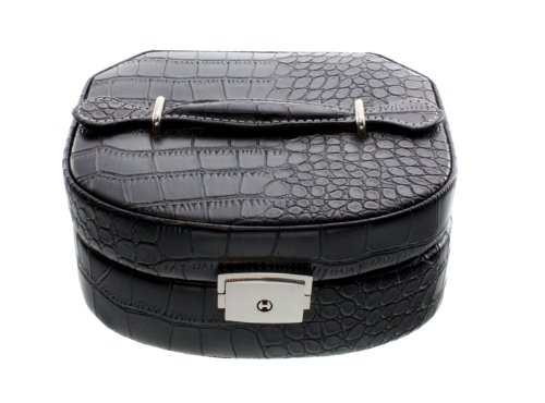 Image of Stella Maris Tokio STMP68044 Women's Jewellery Box Black Synthetic Leather With Drawer and Mirror Velvet Interior Key Lock 15.5 x 14.5 x 6.5 cm