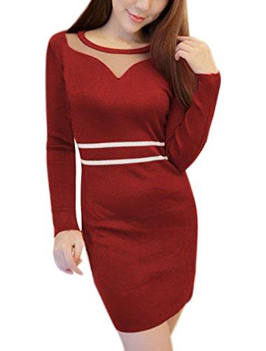 sourcingmap Femme Insert Maille Semi-transparente Rayures tricoté Robe Moulante Rouge