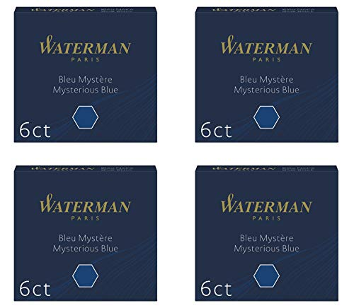 Waterman - 4 astucci di 6 cartucce internazionali corte per penna stilografica, inchiostro blu mistero (blu-black)