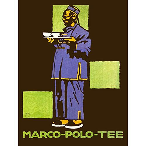 Advert Drink Tea Marco Polo Hanfu Silk Outfit Waiter Cup Poster 30X40 cm 12X16 IN Print Werbung Getränk