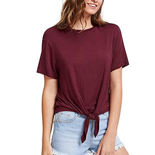 Aiserkly Damen Beiläufiges T-Shirt der Art- und WeiseDamen O Ansatz-Kurzschluss-Hülsen-Feste Bandage-Bindungs-Spitzen-T-Stück
