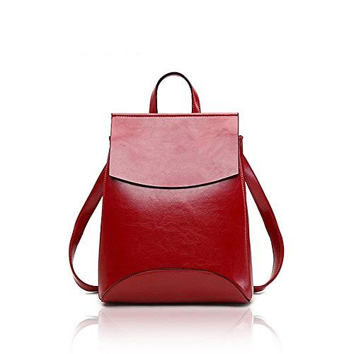 Retro Rucksack Damen Schultertasche Echtleder Vintage Rucksack Premium Büffelleder - Freizeit Shopping Uni Schule 24 * 30 * 10cm