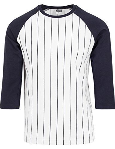 Contrast 3/4 Sleeve Baseball Tee wht/nvy