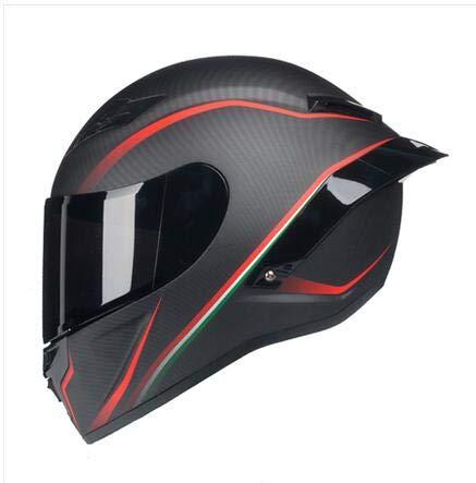 FANHAOWEI Casco Integrale Nero Rosso Sicuro per Moto con Casco Posteriore in Carbonio con verniciatura al Carbonio ECE R22,Brown,M