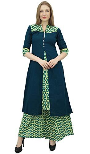 Phagun Damen A-Line Kurti Kurta grünes Kleid mit Palazzo indischer Kleidung-36
