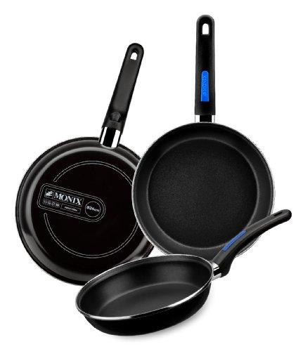Monix Duna - Lote 3 sartenes 22, 24, 26 cm de acero esmaltado negro con antiadherente Teflon® Classic.