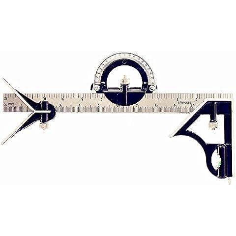 sansido 12inch Cuadrado Regla ángulo de combinación de acero inoxidable ajustable Herramienta Buscador de ángulo Transportador